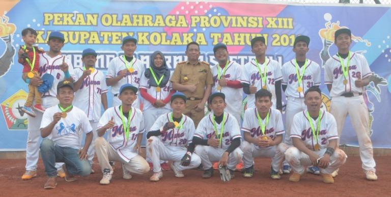Tim Softball Putra Muna peraih mendali emas di ajang Porprov XIII Kolaka 2018.