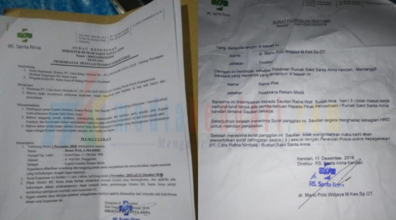 SK pengangkatan dan surat panggilan Ratna Wati