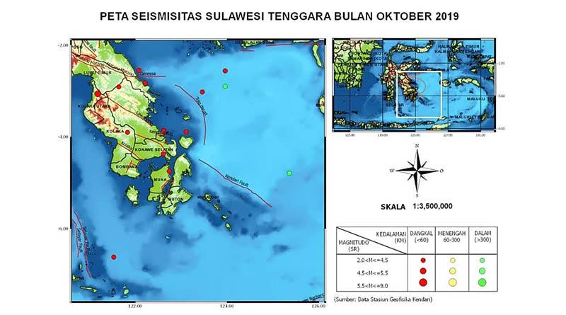Khusus Oktober, Sultra Dilanda Gempa Sebanyak 13 Kali