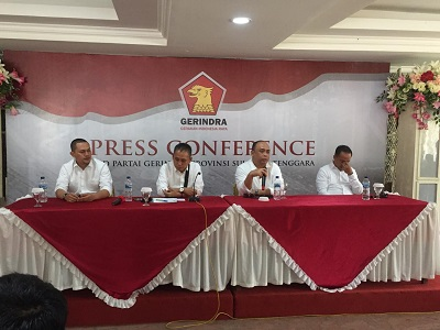 Konferensi Pers Ketua DPD Partai Gerindra Sultra