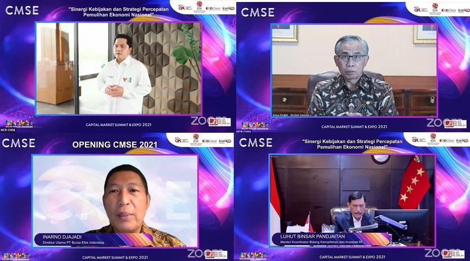 Tampak Direktur Utama BEI, Inarno Djajadi Via virtual (Foto: Ist)